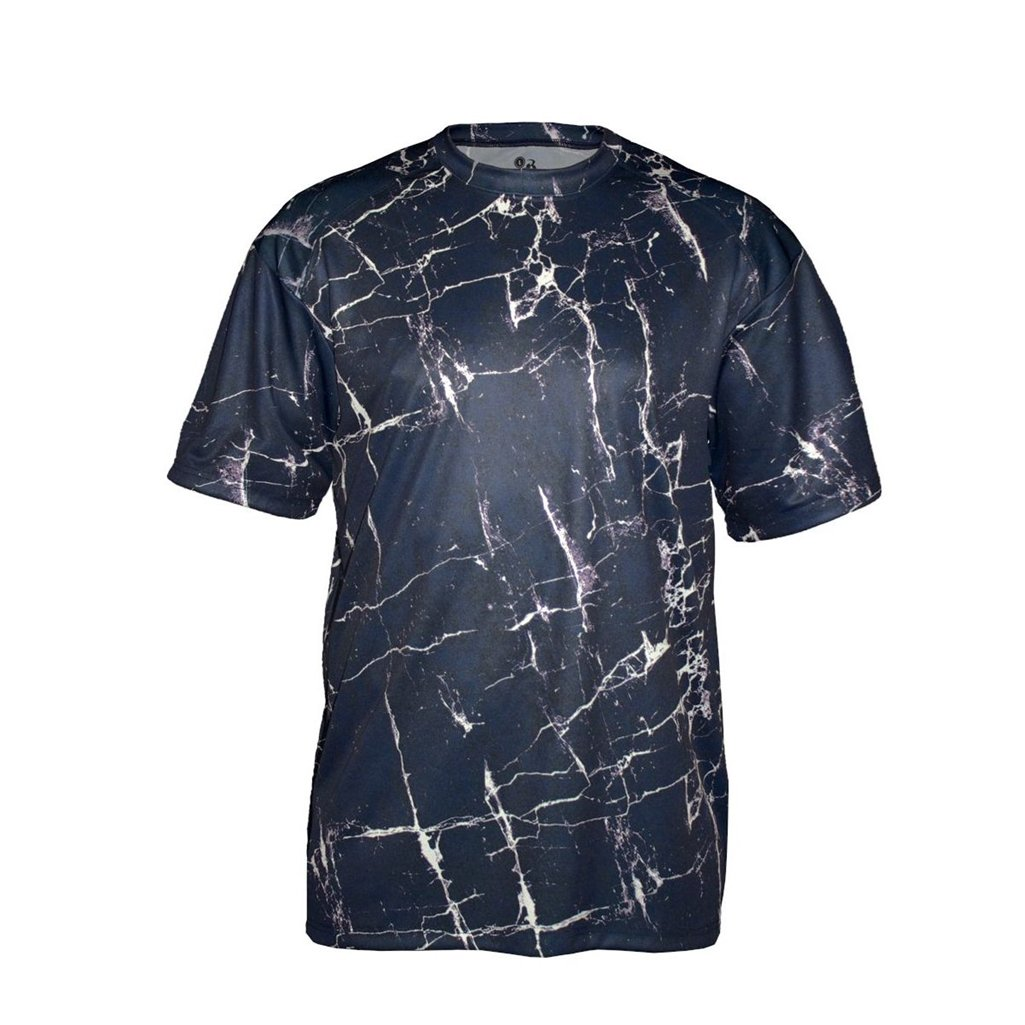 Badger Sport Youth Shocker Sublimated Tee (X-Small, Black Shock)