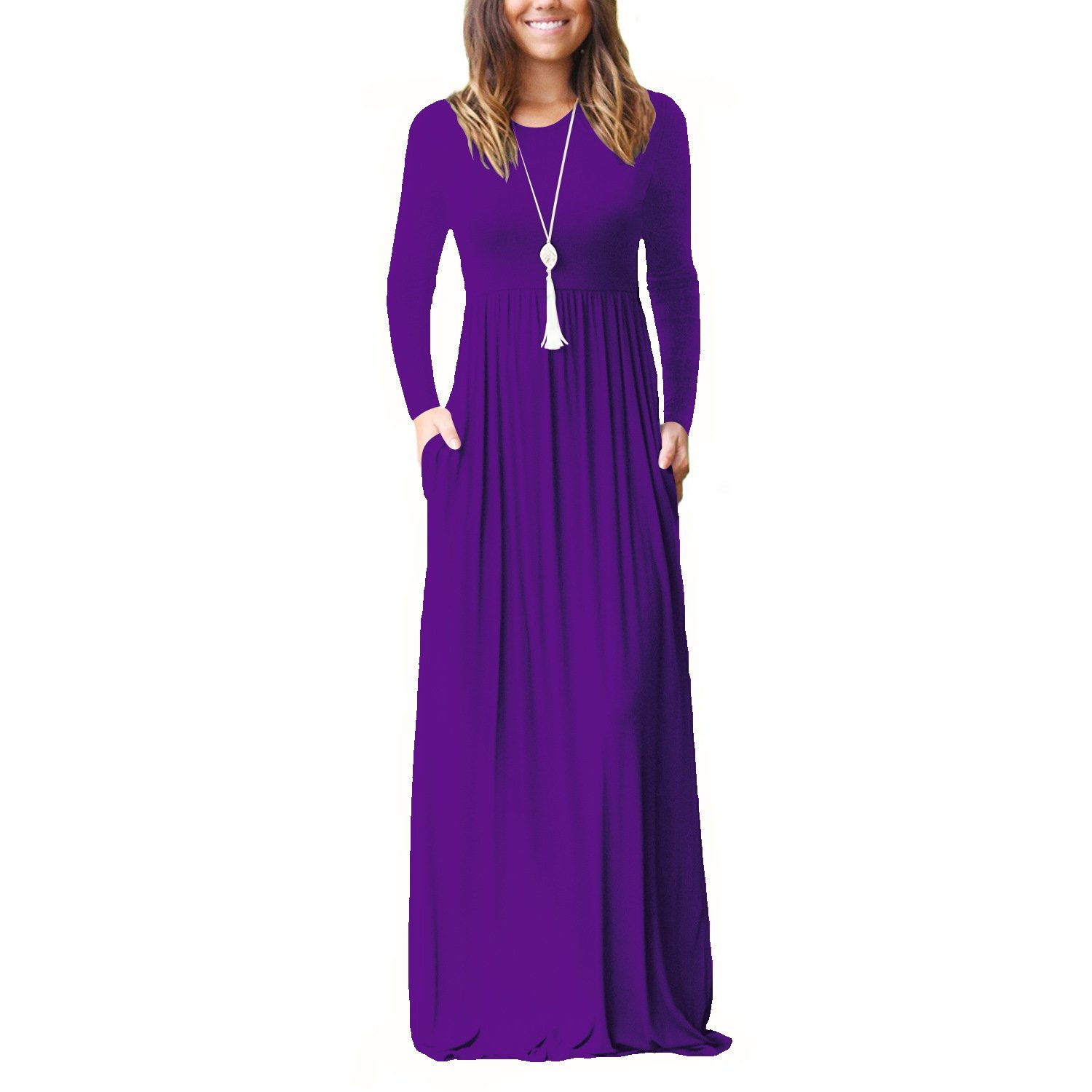 Amzbeauty Long Sleeve Maxi Dresses for Women Round Neck Casual Dress with Pockets at Amazon Womens Clothing store: