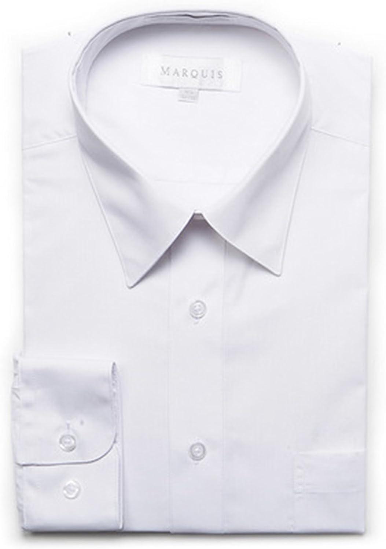 Marquis Men's Black Long Sleeve Slim Fit Dress Shirt White