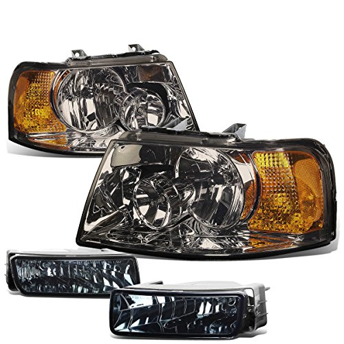 For Ford Expedition U222 Pair of Smoked Lens Amber Corner Headlights + Smoked Lens Fog Lights