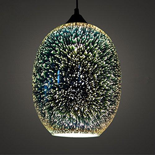 Modern Pendant Light, Motent Industrial Minimalism 3D Colourful Glass Hanging Lamp in Globe Shape, Creative Simplicity Adjustable 1-Light Drop Lighting Fixture, 8.6