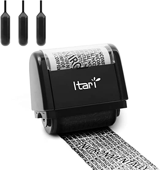Identity Theft Protection Roller Stamp Wide Kit for Secure Confidential ID Blackout Security, Anti Theft and Privacy Safety