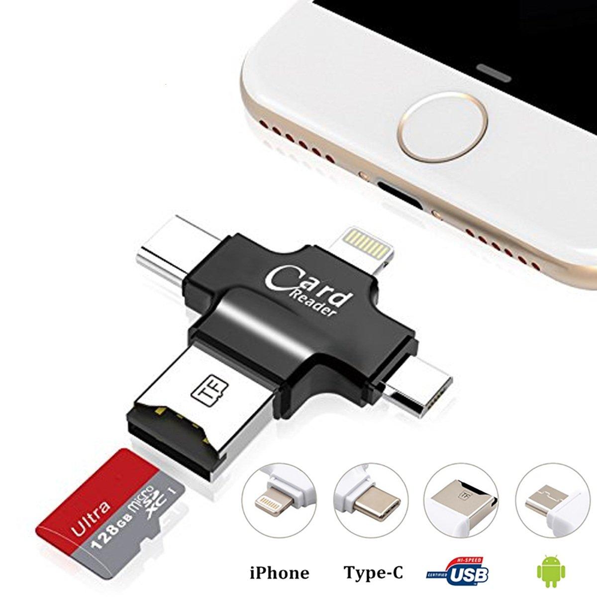 Lector de tarjetas USB, Hizek 4 en 1 Lector de tarjetas de memoria USB 2.0 Multi Funció n Conector USB Soporte TF Tarjetas para iphone / Samsung / Huawei / HTC / Nexus / LG / Sony / Windows(Blanco) HZ- UC-W