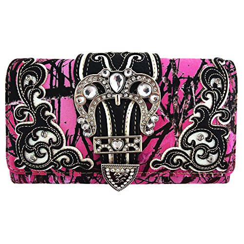 Camouflage Buckle Western Style Country Purse Single Shoulder Bags Clutch Women Blocking Wristlet Wallet (Pink) (Camo Wallet Clutch)