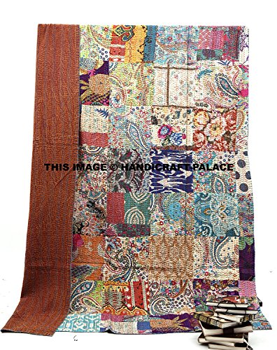 Handicraft-Palace Cotton Kantha Gudari Block Print Twin Quilt Bedspread Blanket Sheet/Indian Traditional Floral Patterned Multicolor Bedding Decor Tapestry/Tribal Handmade Ethnic Bohemian Duvet Cover