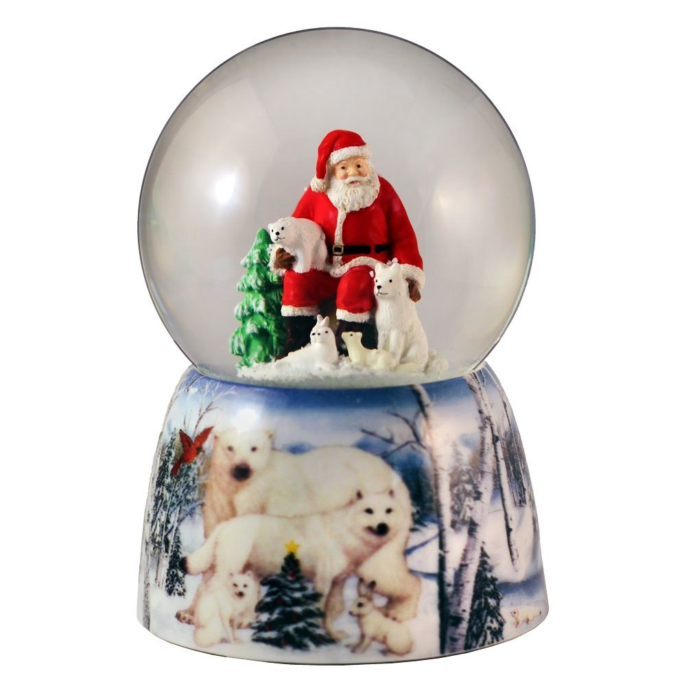 Santa with Animal Friends Water Globe San Francisco Music Box
