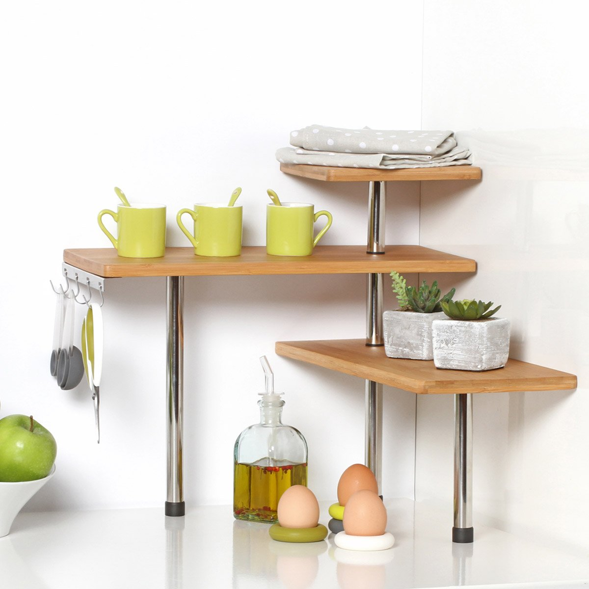 Bamboo And Stainless Steel Corner Shelf Unit Kitchen