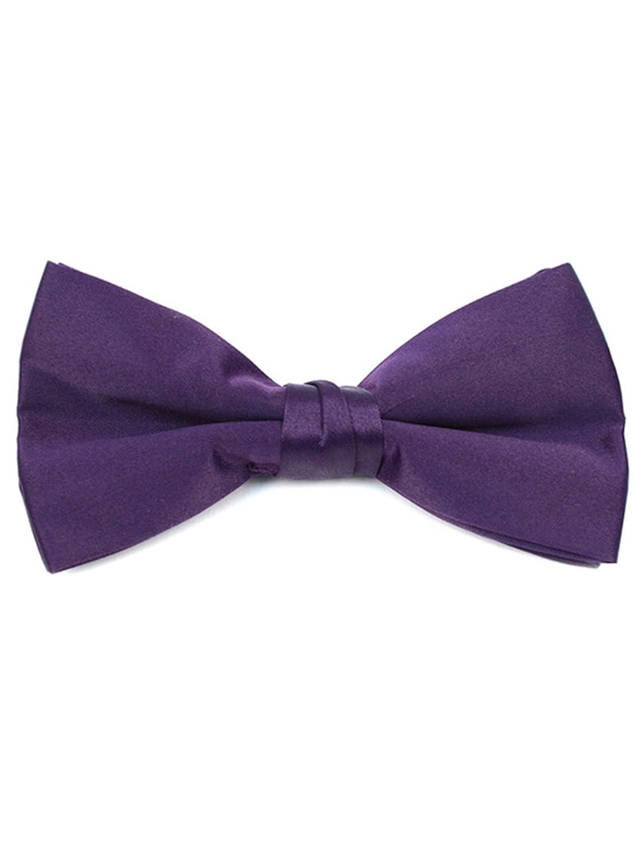 Young Boys Pre-tied Adjustable Length Bow Tie Formal Tuxedo Solid Color Lavender