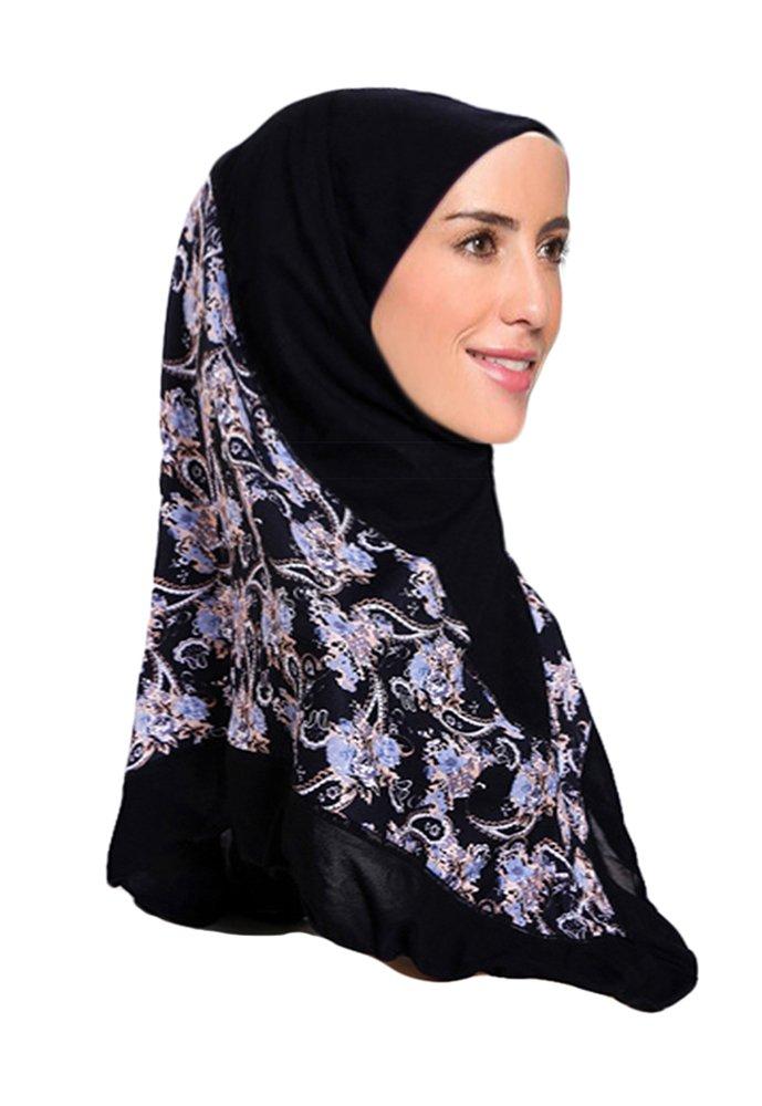 Hana's Womens 1 piece ADPR Solid Hijab Scarf One Size Midnight