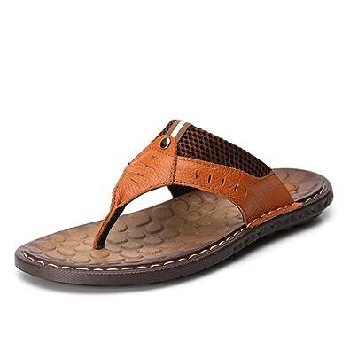 965d3d6347c Homme Chaussure Été Sandales Cuir Souple Antidérapant Sandales de Plage  Tongs  Amazon.fr  Chaussures et Sacs
