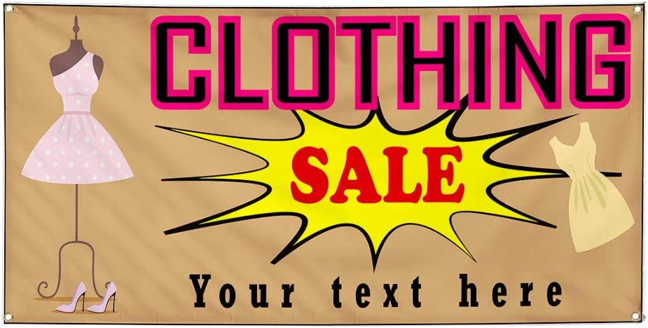 Custom Industrial Vinyl Banner Multiple Sizes Clothing Sale Fashion Personalized Text Business Outdoor Weatherproof Yard Signs Pink 10 Grommets 56x140Inches