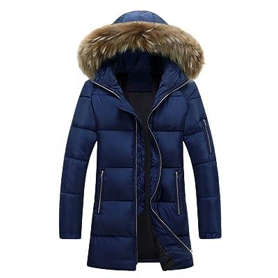 Zhhlaixing Mens Pour des hommes Winter Thick Padded Longer Length Jacket Veste Hooded Windbreaker Waterproof Outerwear Overcoat Halloween Gift