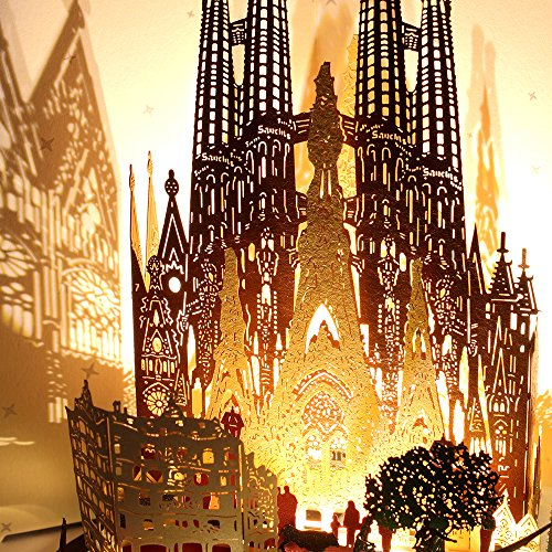 3D Pop Up Greeting Souvenir Cards, POSTALK Barcelona Travel Creative Cards Paper Craft with USB Lighting Module for Birthday, Mother's Day, Wedding, Valentine's Day, Father's Day, Children's Day Gifts by Postalk (Image #3)