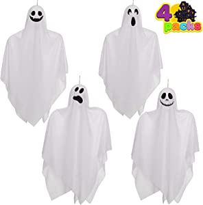 Ghost Decorations,4 Pack Halloween Hanging Ghosts for Halloween Party Decoration, Cute Flying Ghost Decorations for Front Yard Patio Lawn Garden Party Décor and Holiday Halloween Hanging Decorations