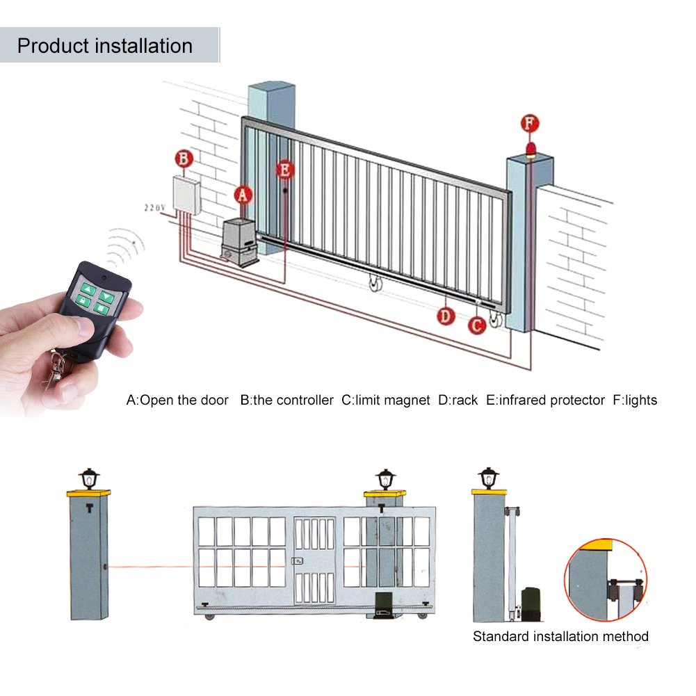2000KG Sliding Electric Gate Opener Smart Automatic Motor Heavy Duty Driveway Security Kit, Track Driveway Security Kit with Infrared Anti-Pinch Function(Set 1) by EBTOOLS (Image #7)