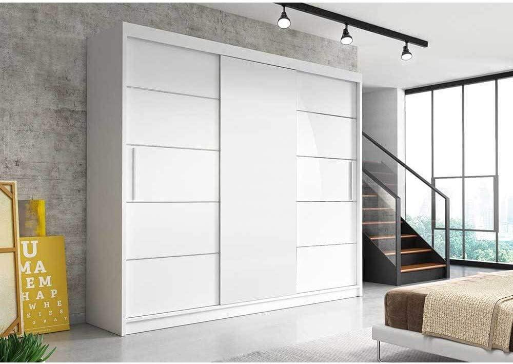 E-MEUBLES - Armario con 3 Puertas correderas (250 x 218 x 61 cm): Amazon.es: Hogar
