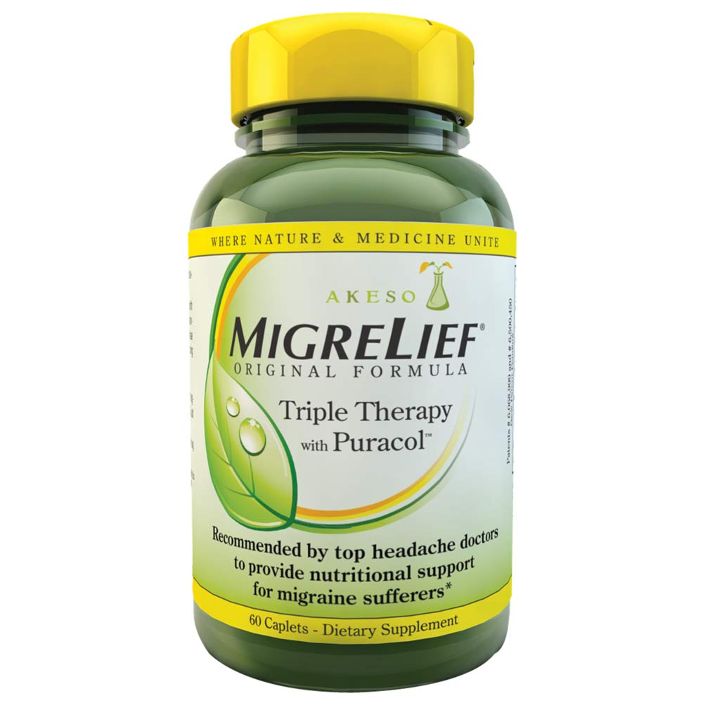 MigreLief® Original Triple Therapy with PuracolTM - Nutritional Support for Migraine Sufferers - 60 Caplets/1 Month Supply by MigreLief