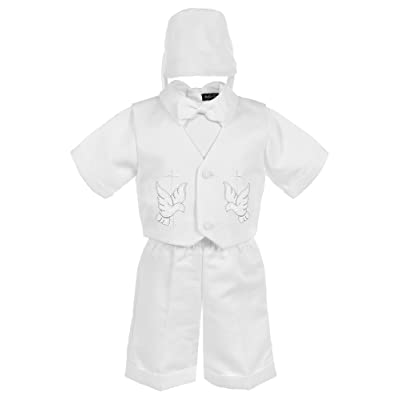 Bello Giovane Baby Boys White Baptism Dove Embroidered Christening 4 Piece Set