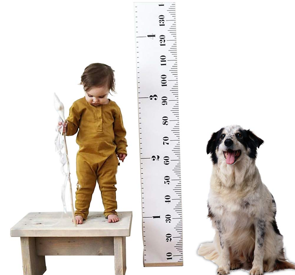 Kids Baby Height Growth Chart-Roll Up Wood Frame Fabric Hanging Ruler Children Nursery Room Wall Decor Baby Shower Gift, 79 x7.9 79 x7.9 CozzyLife