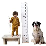 Kids Baby Height Growth Chart-Roll Up Wood Frame Fabric Hanging Ruler Children Nursery Room Wall Decor Baby Shower Gift, 79  x7.9