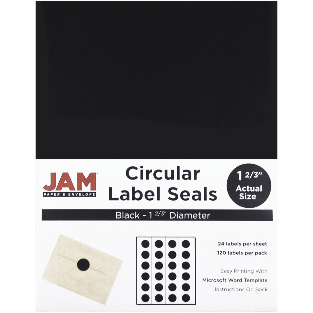 JAM PAPER Circle Label Sticker Seals - 1 2/3 Inch Diameter - Black - 120/pack