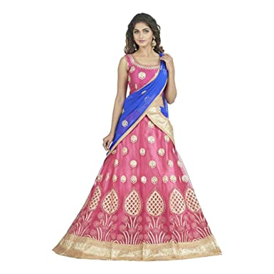 c211dc15d1f8d7 Amazon.com: Embroidered Lehenga Choli (Pink, Pink, Blue): Clothing