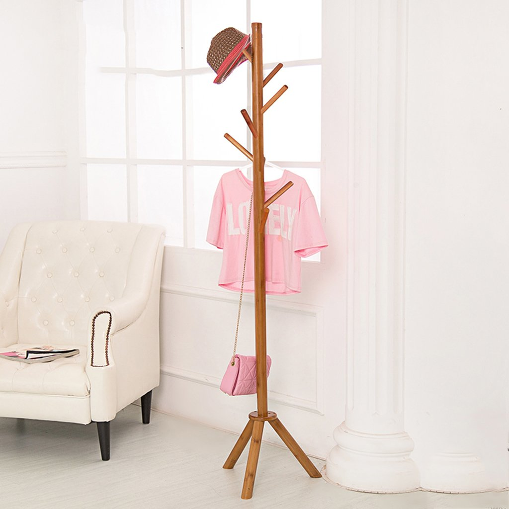 5 DYFYMX Coat Bedroom Modern Simple Wood Hanger Free-Standing Coat and hat Rack (color    5)