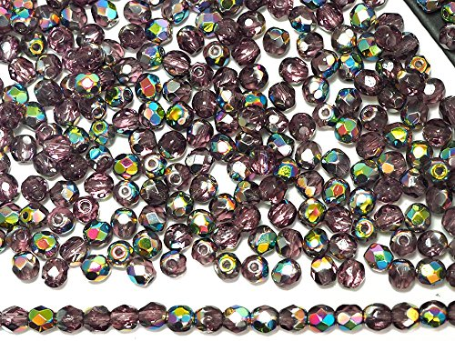 4mm, 600pcs, Amethyst Vitrail coated, Czech Fire Polished Round Faceted Glass Beads