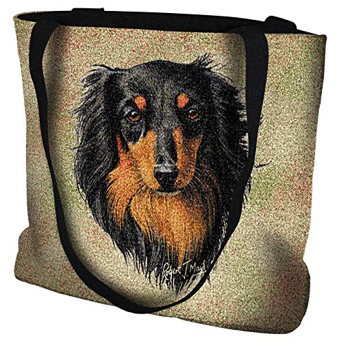Pure Country Weavers - Long-haired Dachshund Black and Tan Hand Finished Large Woven Tote Bag Cotton ()