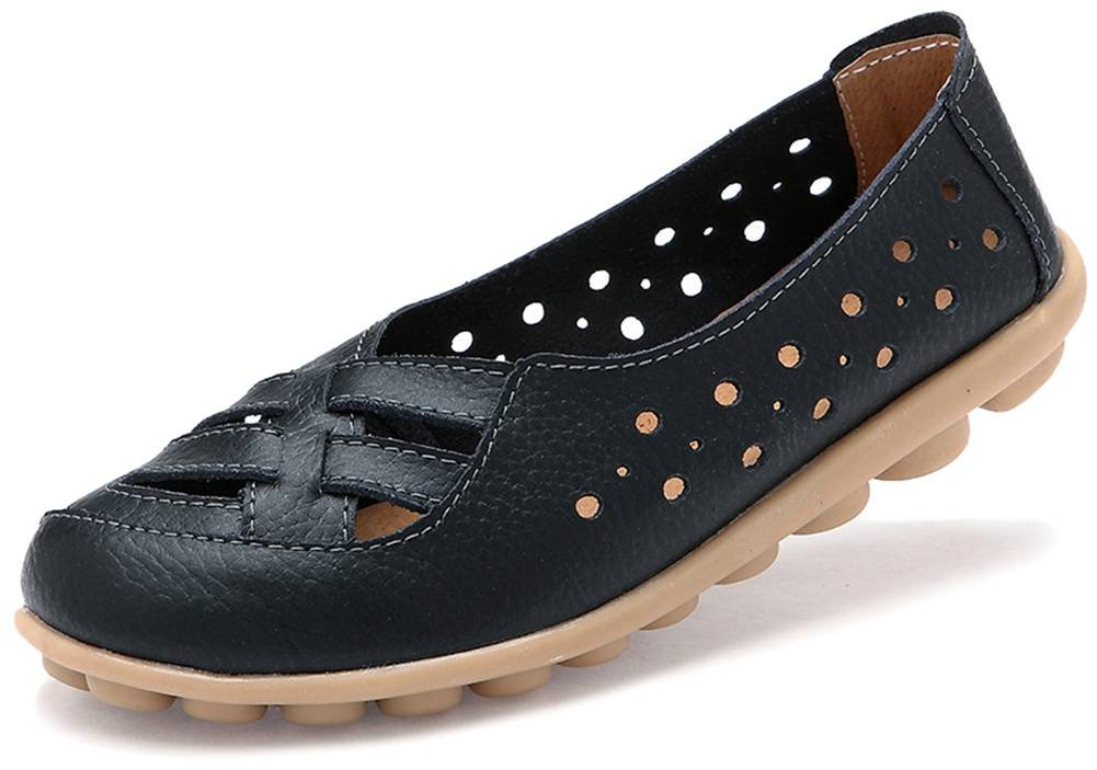 Fangsto Women's Leather Loafers Flats Sandals Slip-On US Size 9.5 Black
