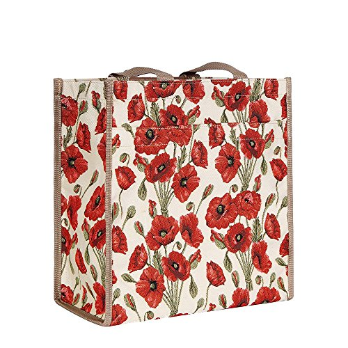 (Signare Tapestry Red and White Women's Shopping Tote Bag/Shoulder Bag with Poppy (SHOP-POP))