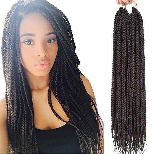 VRHOT 6Packs 18 inch Box Braids Crochet Hair Prelooped Synthetic Hair Extensions Twist Crochet Small 3S Box Braids Black Kanekalon Braiding Hair Long Dreadlocks for Women(18 inch, 2#)
