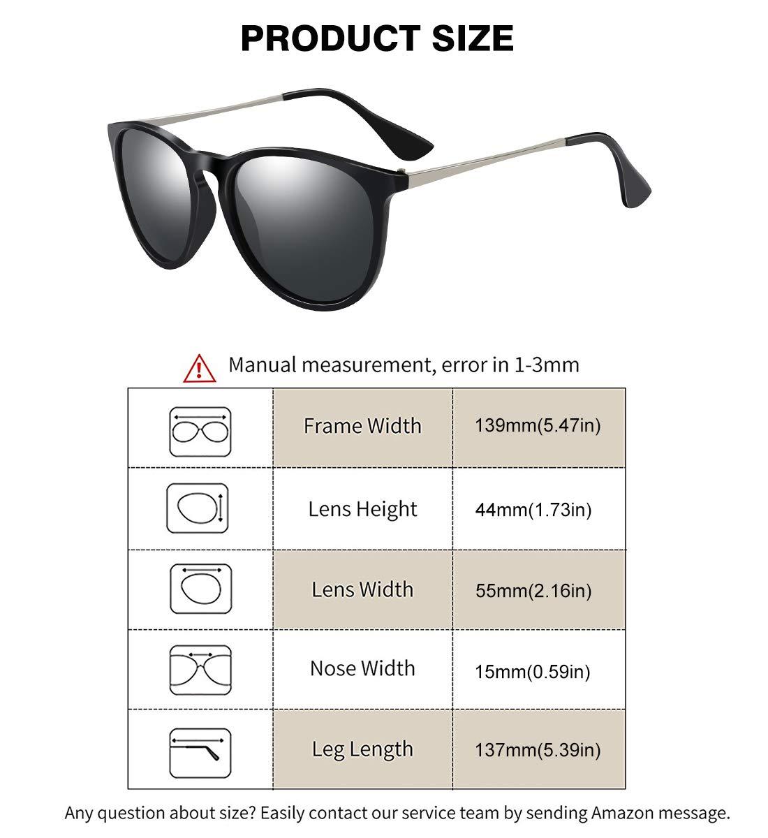 WOWSUN Polarized Sunglasses for Women Vintage Retro Classic Round Black Lens
