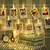 ELINKUME LED Mood Light Photo Clip String Light, 20 Photo Clips, 2.2 Meter/7.21 Feet, Warm White, Battery Powered, Perfect for Hanging Pictures, Notes, Artwork, Memos and etc.