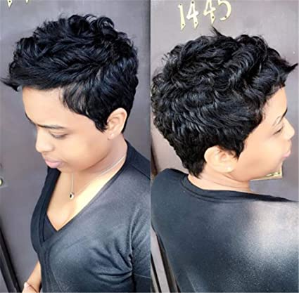 Amazon Com Aewig Short Pixie Cut Curly Hair Wigs For Afro Black