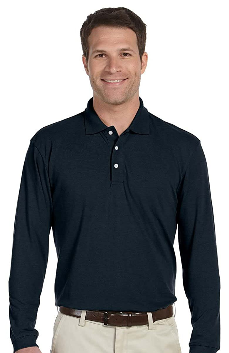 Harriton Mens Easy Blend Long-Sleeve Polo Shirt Navy