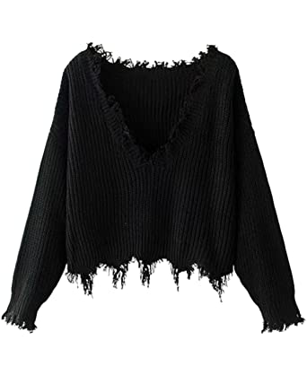39c0ef8a804fd ZAFUL Women s Loose Long Sleeve V-Neck Ripped Pullover Knitted Crop Top  Sweater(Black