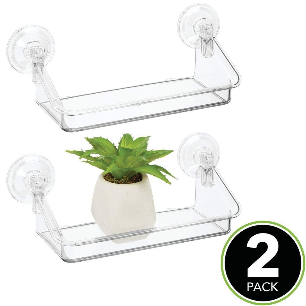 transparente Pr/áctica estanter/ía flotante Organizador de pared de pl/ástico resistente ideal para colgarla en ventanas o espejos mDesign Estante de pared peque/ño