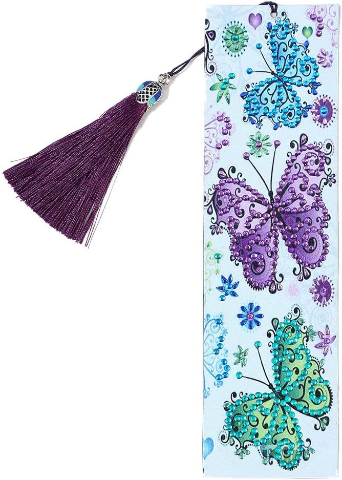 GAD 5D Diamond Painting Bookmarks Peacocks 4 Pack Kits for Adults DIY Bookmarks with Tassel Arts Crafts Set Rhinestone Dot Gifts