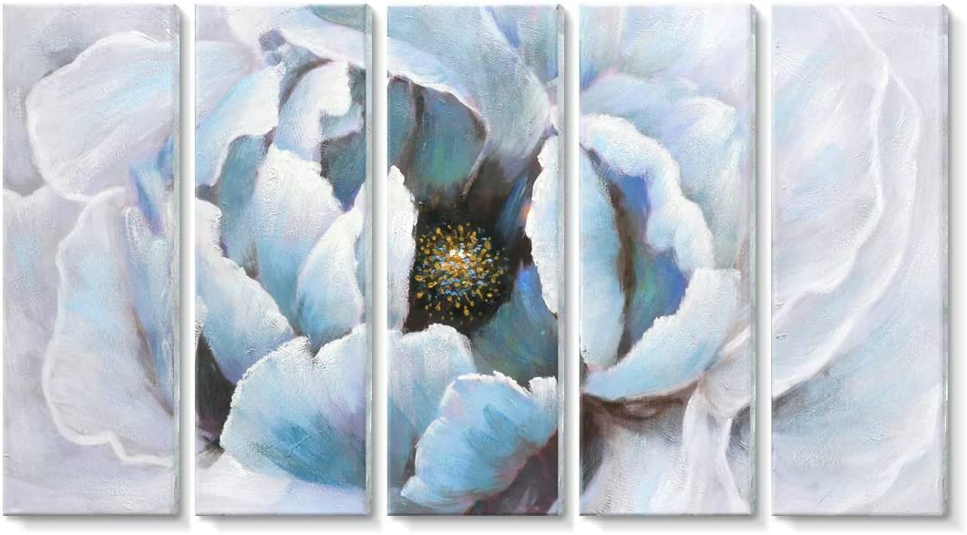 amatop Wall Art for Living Room Modern Hand-Painted Abstract Floral Wall Art Blooming Flower Oil Painting on Wrapped Canvas Artwork for Bedroom Bathroom Wall Decoration 5 Pieces Blue Peony Gold Core