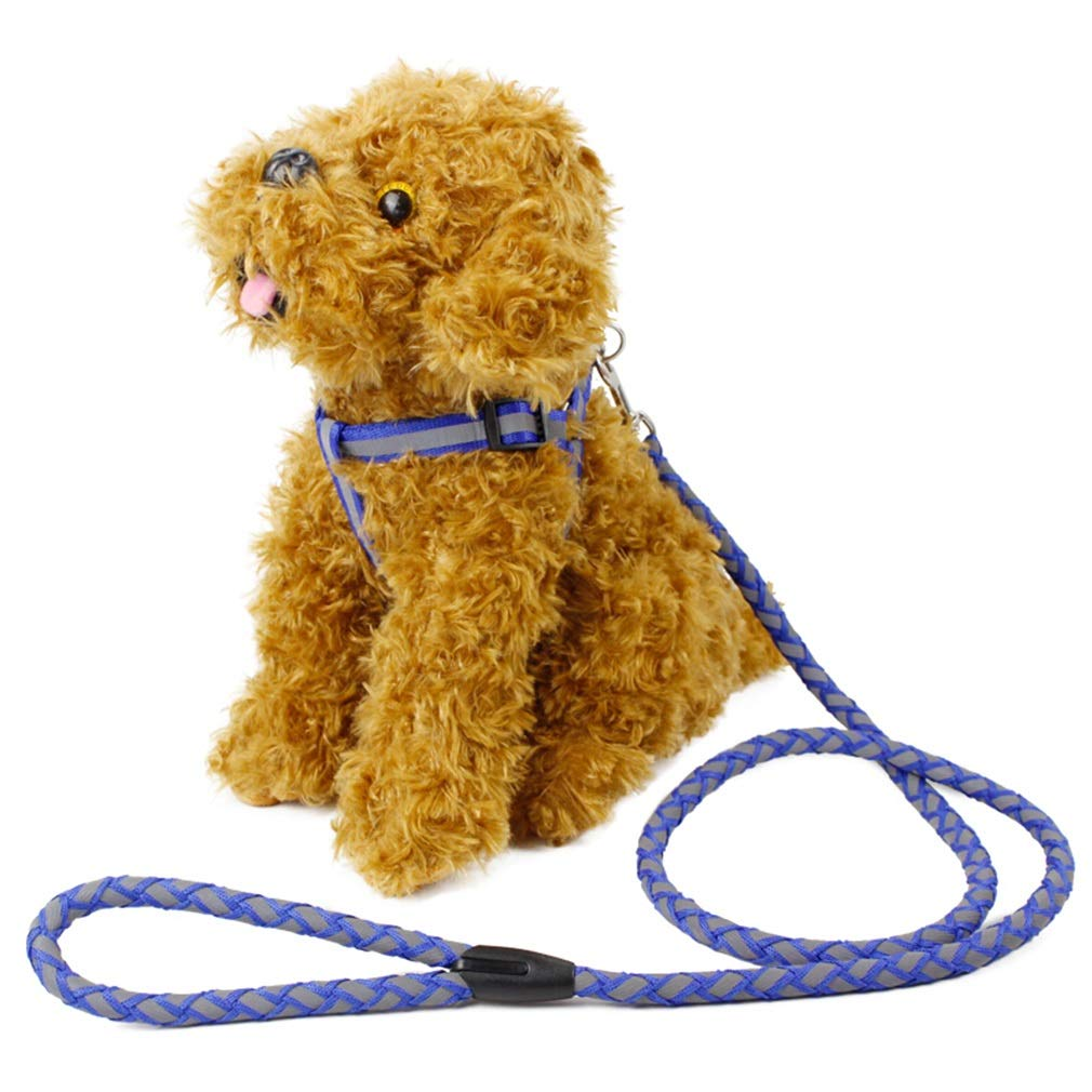 M Dog Lead Reflective Leash Long Polyester Training Dog Leash for Pet Tracking Training Chest Strap Dog Leash Lead bluee (Size   M)