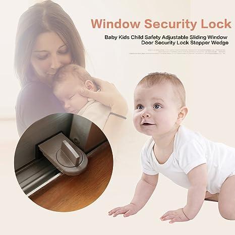 Fdit 2er T/ür Fensterschloss Baby Kinder Kind Sicherheit Einstellbare Schiebefenster T/ür Sicherheitsschloss Stopper Keil