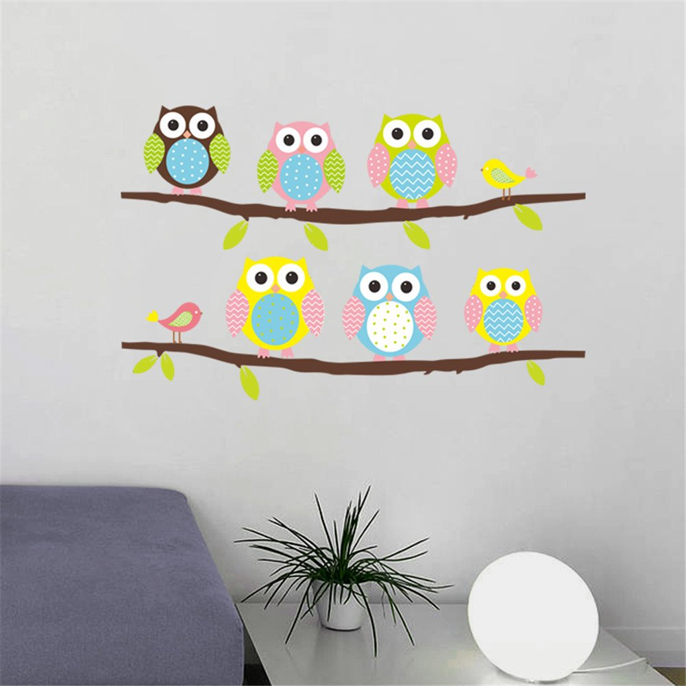 cartoon cute six owl on the tree diy wall wallpaper stickers art