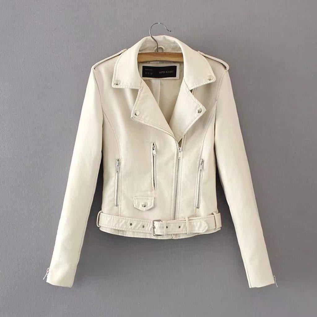 BSJshop-Sweatshirt Women Teen Girl Faux Leather Cropped Moto Biker Jacket Long Sleeve Asymmetrical Zip Jacket Coat