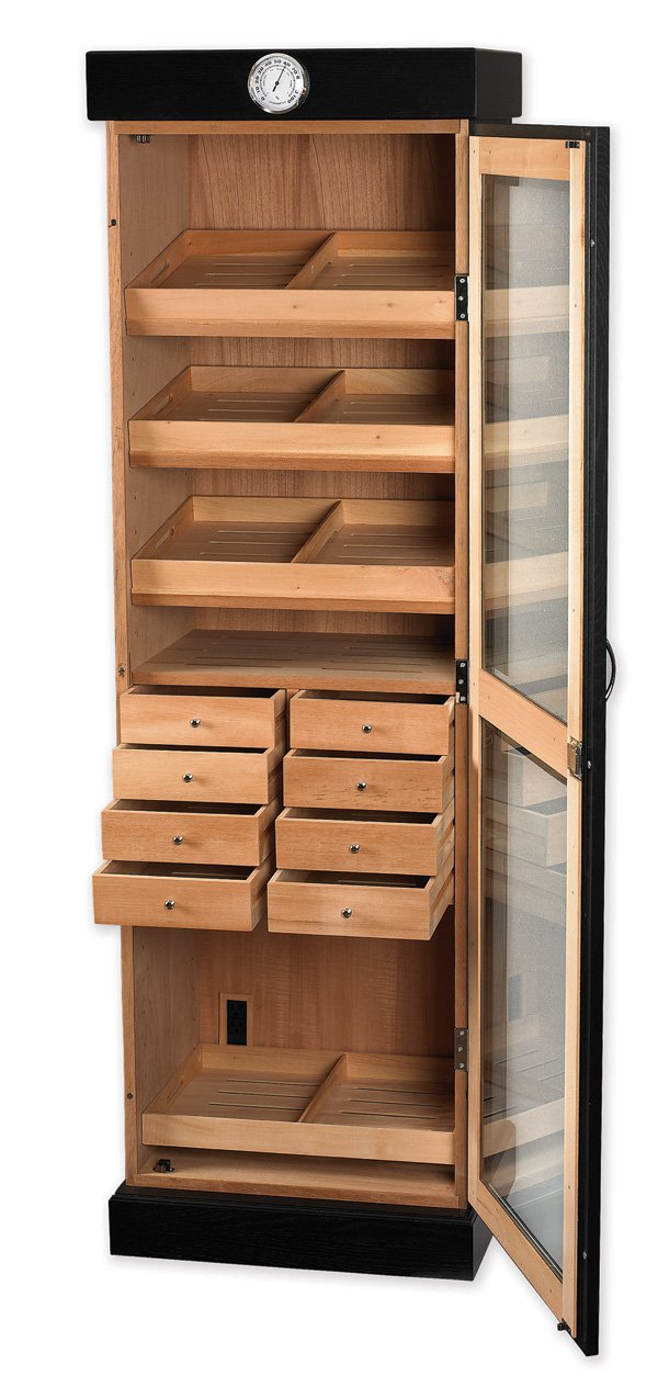 Quality Importers Trading HUM-2000BLK Tower Humidor with 8 Drawers, Tempered Beveled Glass Door, Holds 3000 Cigars, Black