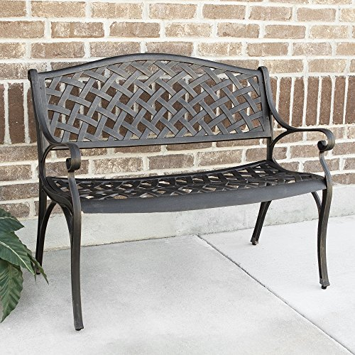 "WE Furniture 42"" Cast Aluminum Wicker Style Outdoor Bench"