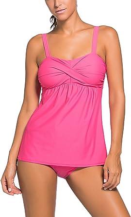 TALLA 3XL. FLYILY - Conjunto de tankini a rayas para mujer, 2 piezas, ropa de playa, color sólido, conjuntos de bikini, talla grande