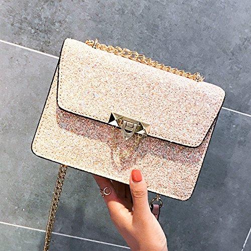Lentejuelas Mioy Bolso Hombro de Pequeño Bolsos bolso de mensajero cuero Bolso Elegante Mujer Moda Rosa bandolera Con De an0rqawS