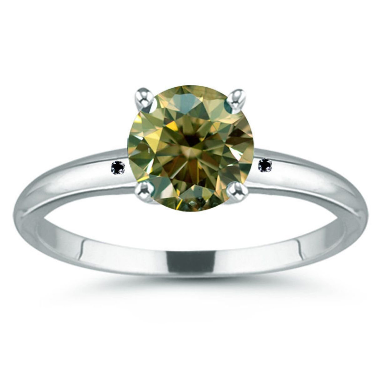 RINGJEWEL 3.27 ct VVS1 Round Moissanite Solitaire Engagement Silver Plated Ring Green Brown Color Size 7