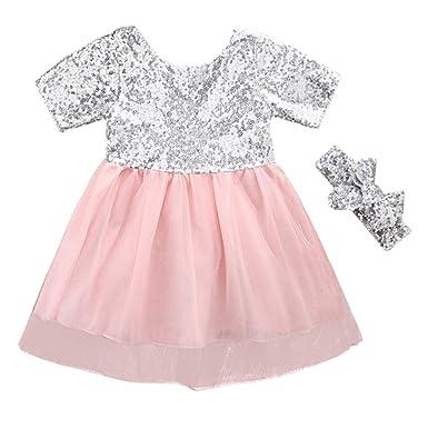 406b23f8abfc SCFEL Kinder Baby Mädchen Silber Pailletten Kleid Kurzarm Bogen Patchwork  Prinzessin Party Kleid Tutu Kleider +